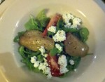 Roasted Bartlett pear salad with fresh goat cheese